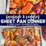 collage of photos of 30 minute sheet pan dinner