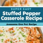 collage of photos of stuffed pepper casserole