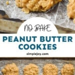 Pinterest graphic of Peanut Butter No Bake Cookies