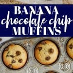 collage of photos of chocolate chip banana muffins