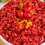 white bowl full of cranberry relish recipe