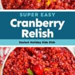 collage of photos of cranberry orange relish recipe