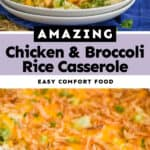collage of photos of chicken and broccoli rice casserole