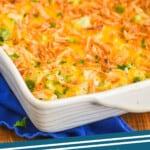 casserole dish with broccoli rice casserole