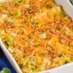 Pinterest graphic of chicken broccoli rice casserole