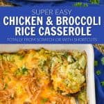 collage of photos of chicken broccoli rice cheese casserole