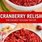 collage of photos of cranberry relish