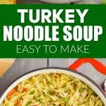 collage of photos of turkey noodle soup recipe