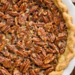 overhead view of a pecan pie