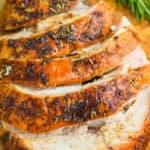 up close photo of a sliced turkey breast recipe