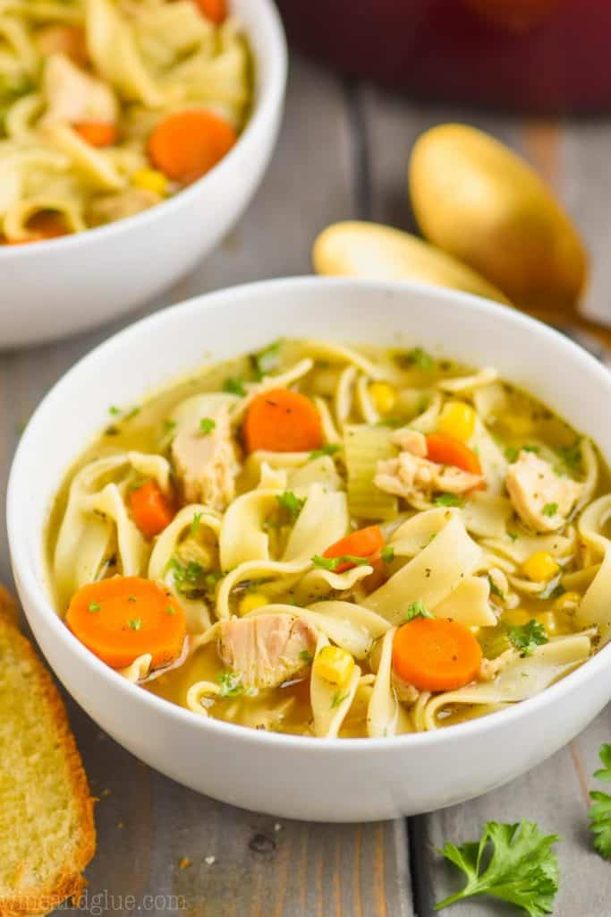 close up of a white bowl full of turkey noodle soup recipe with slices of carrot, pieces of turkey, and long egg noodles visible