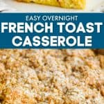 collage of photos of French toast casserole recipe
