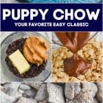 collage of photos of puppy chow, including how to make it