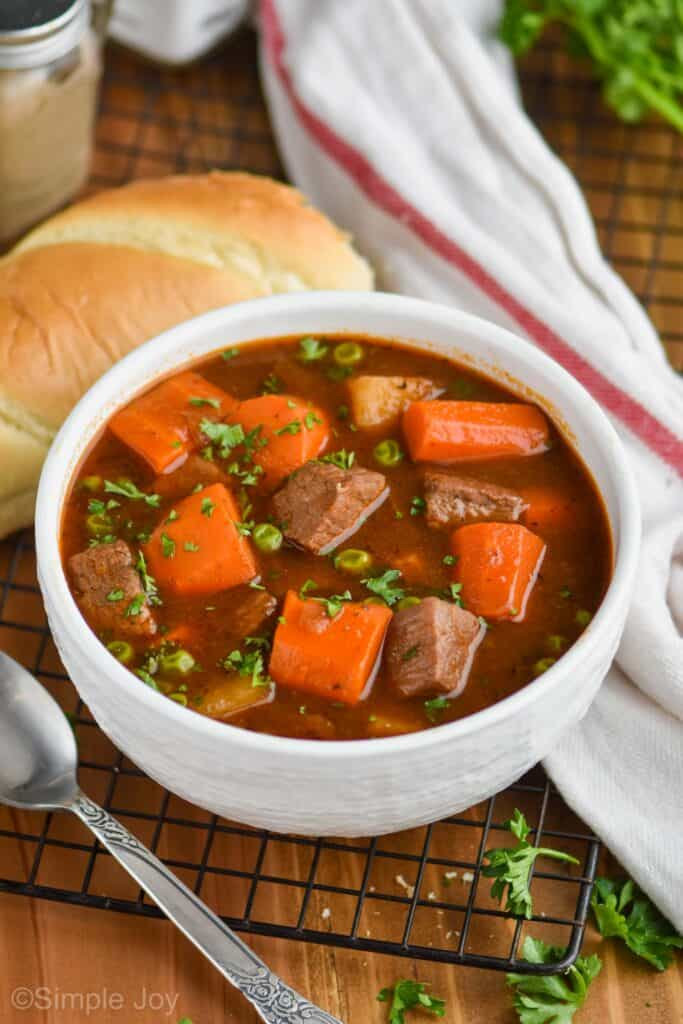 small white bowl holding best beef stew recipe