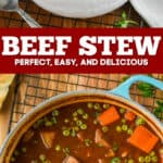collage of photos of beef stew