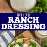 collage of photos of ranch dressing recipe