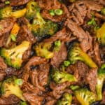 overhead view of a recipe for beef and broccoli