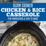 collage of photos of best chicken and rice casserole