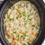 overhead view of a crockpot with chicken and rice casserole garnished with fresh parsley