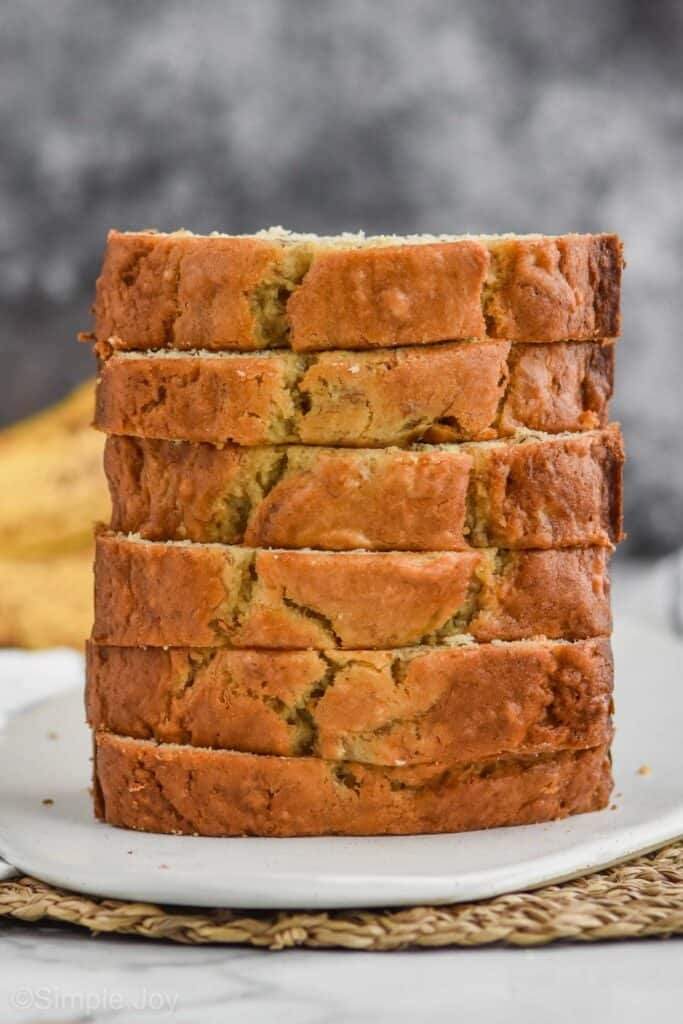 up close view of stack of 6 pieces of easy banana bread