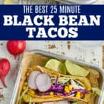 collage of photos of black bean tacos
