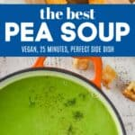 collage of photos of pea soup