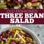 collage of photos of three bean salad recipe