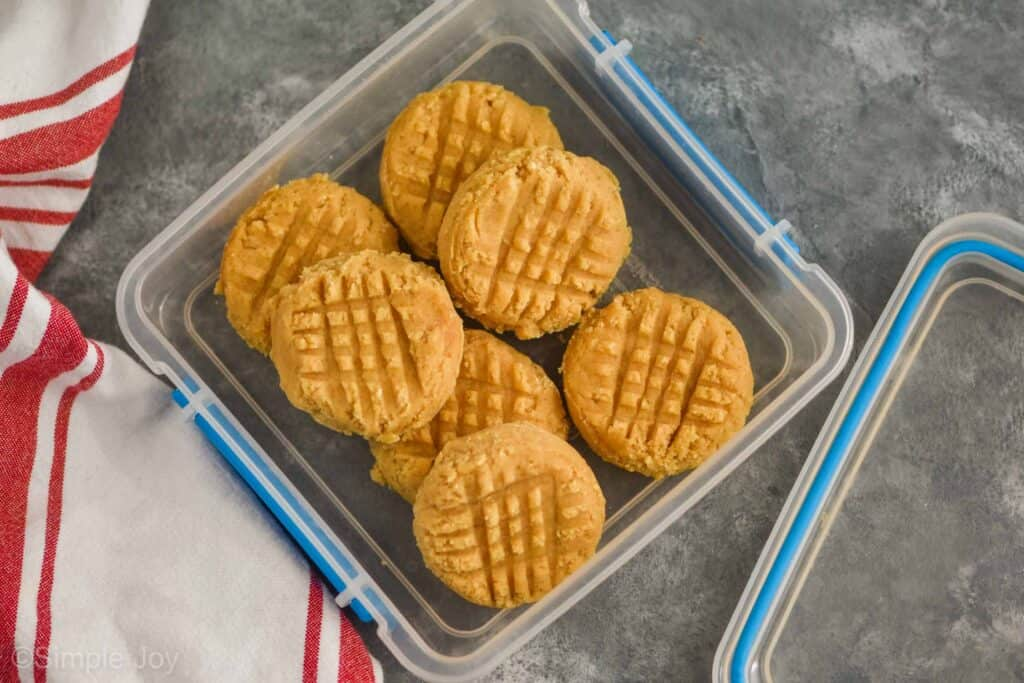 overhead view of a square plastic sandwich container that is full of frozen unbaked peanut butter cookies