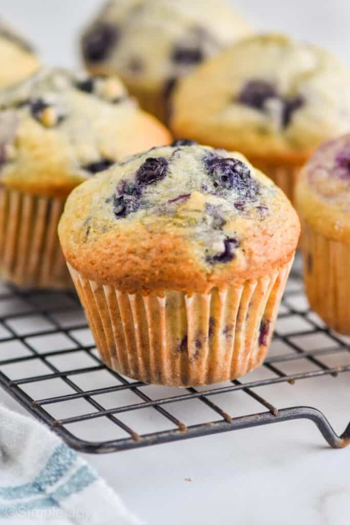 a healthy blueberry muffin on a wire cooling wrack
