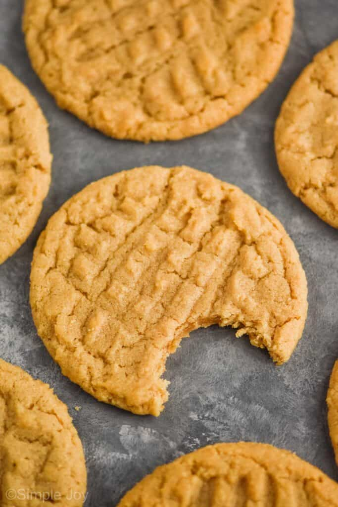 close up of a an easy peanut butter cookie on a gray surface surrounded by other peanut butter cookies, the one in the middle has a bite missing