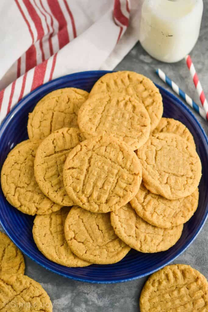 overhead view of a blue plate of peanut butter cookie recipe