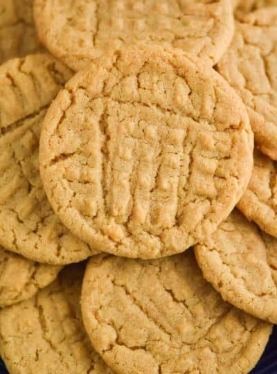 close up of a pile of peanut butter cookies