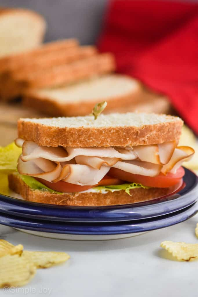 a turkey sandwich with tomatoes and lettuce on a blue plate with a loaf of sliced easy sandwich bread in the background