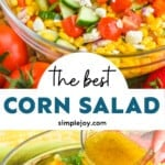 pinterest graphic of corn salad