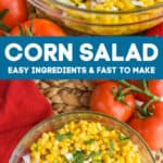 collage of photos of corn salad