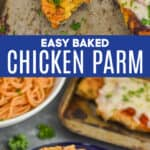 collage of photos of chicken parmesan recipe