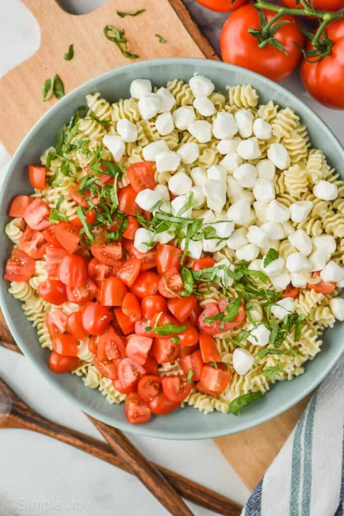 overhead view of large bowl of pasta with quartered cherry tomatoes, shredded basil, and pearl mozzarella