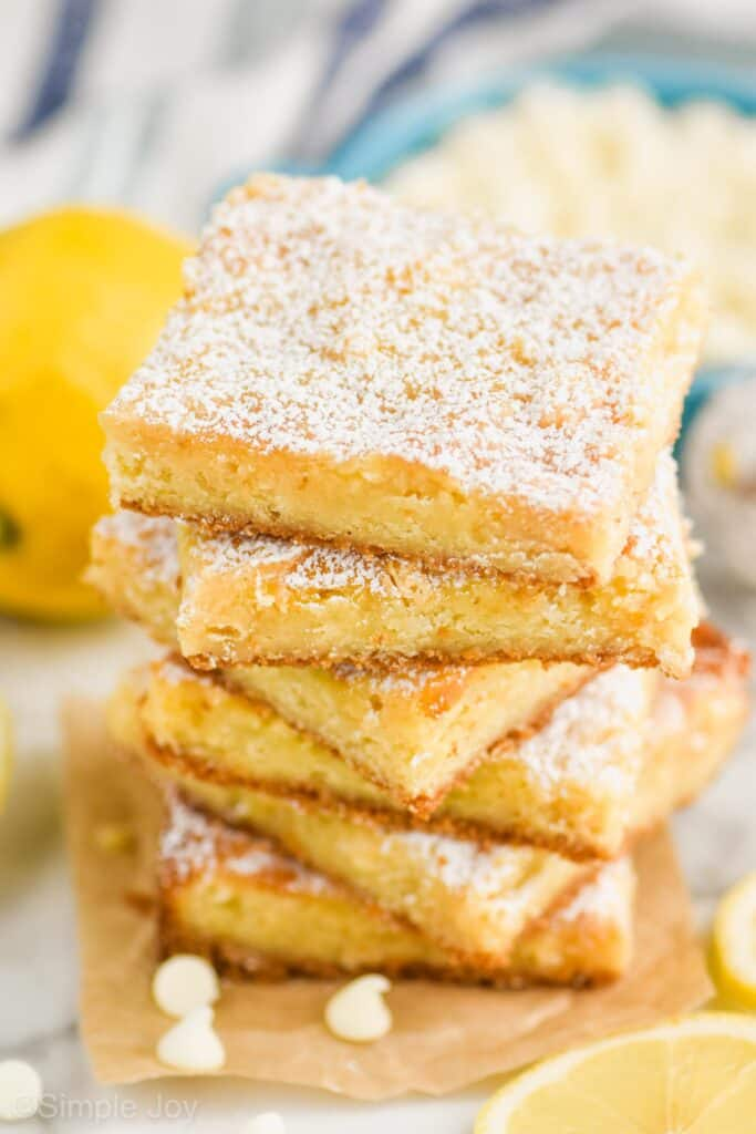 stack of five lemon magic bars
