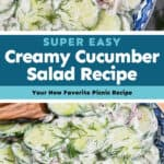 collage of creamy cucumber salad