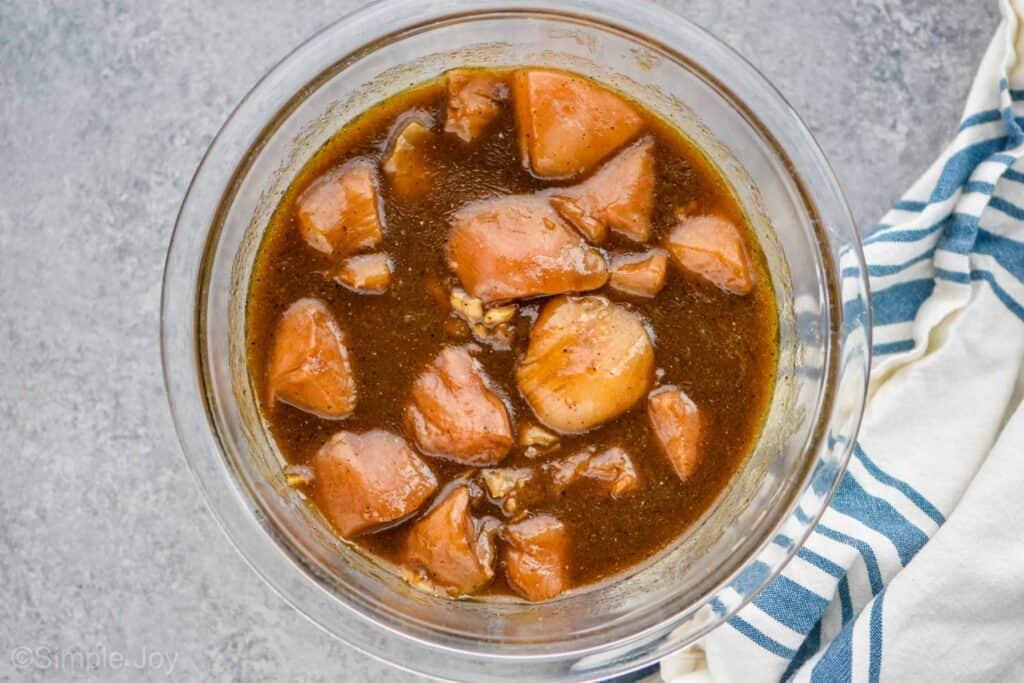 overhead view of chicken in chicken kabob marinade
