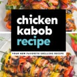 collage of photos of chicken kabobs