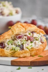 close up of a chicken salad sandwich