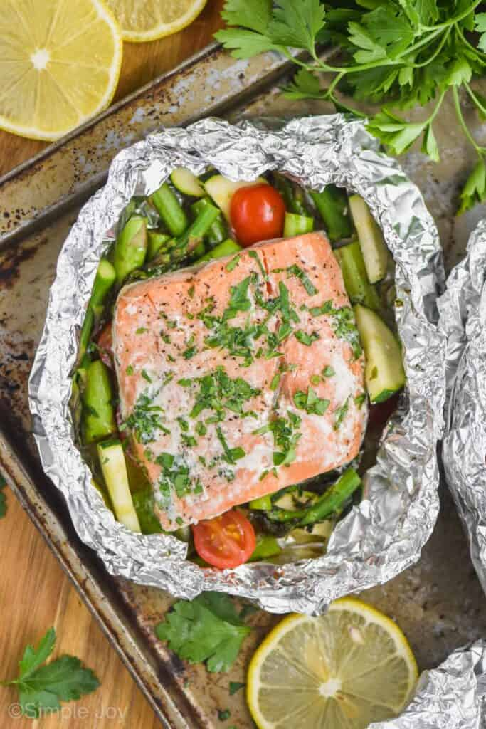 grilled salmon fillet in a foil packet