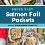 collage of photos of salmon foil packets