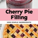 collage of photos of cherry pie filling