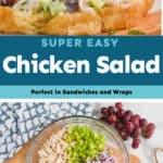 collage of photos of chicken salad sandwich
