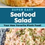 collage of photos of seafood salad
