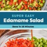 collage of edamame salad