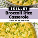 collage of photos of Skillet Chicken Broccoli Rice Casserole