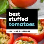collage of photos of stuffed tomatoes